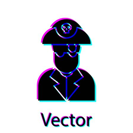 Black Pirate captain icon isolated on white background. Vector Illustration  イラスト・ベクター素材