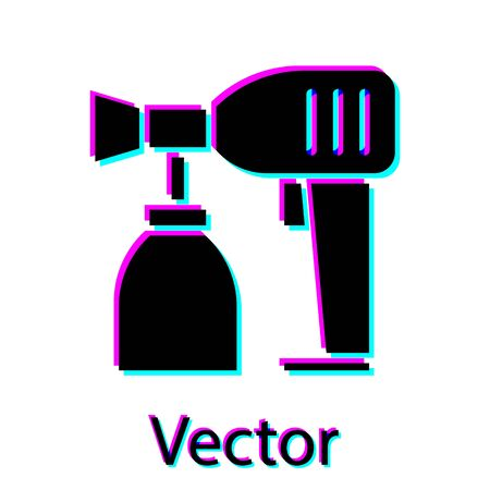 Black Paint spray gun icon isolated on white background. Vector Illustration