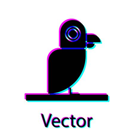 Black Pirate parrot icon isolated on white background. Vector Illustration