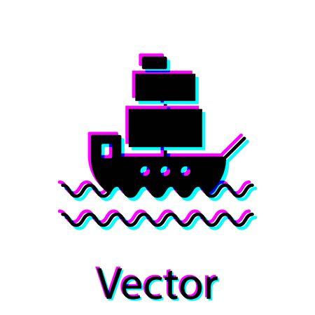 Black Ship icon isolated on white background. Vector Illustration Stock Illustratie