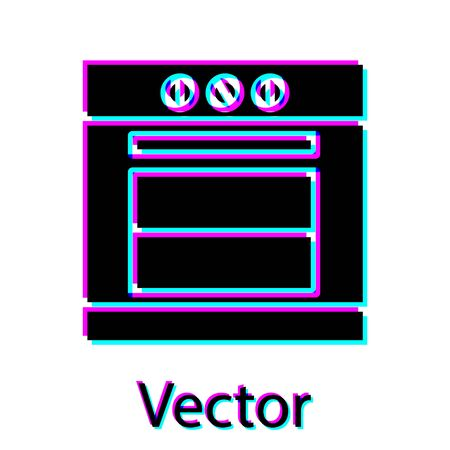 Black Oven icon isolated on white background. Stove gas oven sign. Vector Illustration Ilustracja