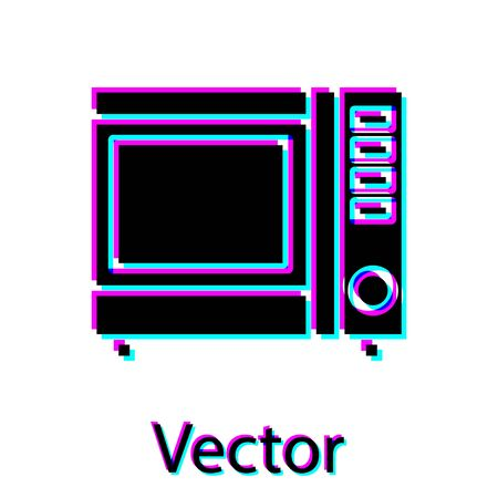 Black Microwave oven icon isolated on white background. Home appliances icon. Vector Illustration Ilustracja