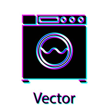 Black Washer icon isolated on white background. Washing machine icon. Clothes washer - laundry machine. Home appliance symbol. Vector Illustration