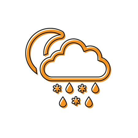 Orange Cloud with snow and rain icon isolated on white background. Weather icon. Vector Illustration Illustration