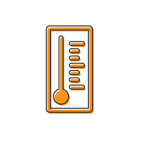 Orange Meteorology thermometer measuring heat and cold icon isolated on white background. Thermometer equipment showing hot or cold weather. Vector Illustration 向量圖像
