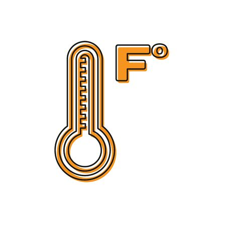 Orange Meteorology thermometer measuring heat and cold icon isolated on white background. Temperature Fahrenheit. Vector Illustration