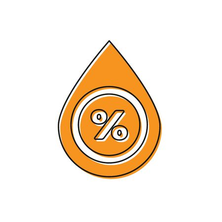 Orange Water drop percentage icon isolated on white background. Humidity analysis. Vector Illustration