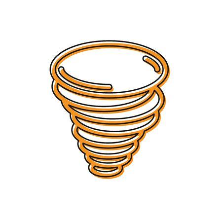 Icône de tornade orange isolé sur fond blanc. Icône de cyclone, de tourbillon, d'entonnoir de tempête, de vent d'ouragan ou de tornade. Illustration vectorielle