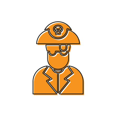 Orange Pirate captain icon isolated on white background. Vector Illustration