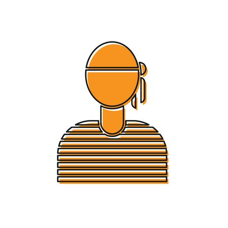 Orange Sailor captain icon isolated on white background. Vector Illustration