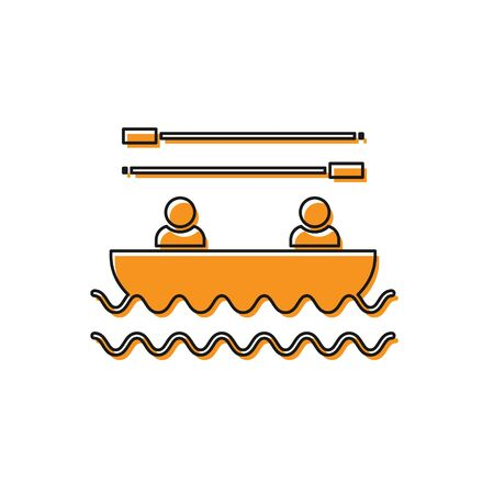 Orange Boat with oars and people icon isolated on white background. Water sports, extreme sports, holiday, vacation, team building. Vector Illustration