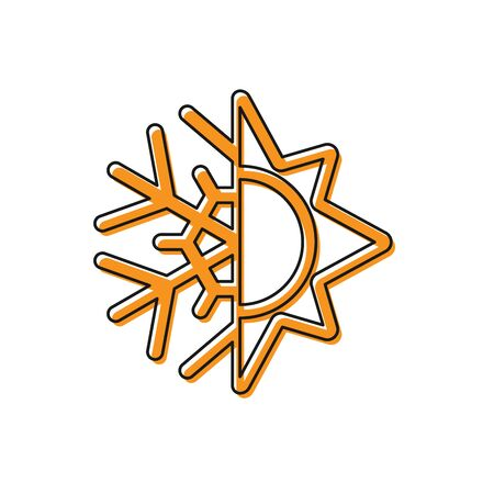 Orange Hot and cold symbol. Sun and snowflake icon isolated on white background. Winter and summer symbol. Vector Illustration