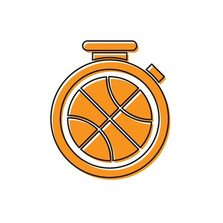 Orange Stopwatch with basketball ball inside icon isolated on white background. Basketball time. Sport and training. Vector Illustration Stok Fotoğraf - 134763171