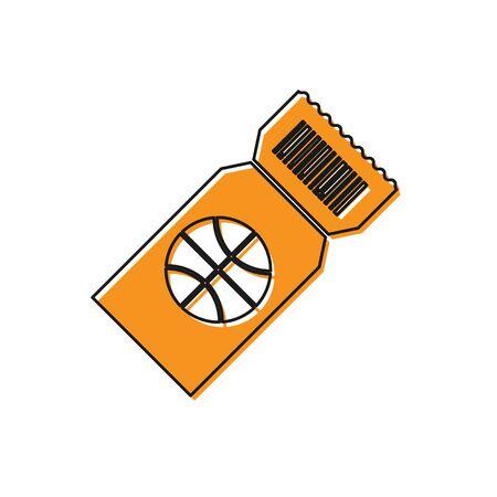 Orange Basketball game ticket icon isolated on white background. Vector Illustration Foto de archivo - 134763172