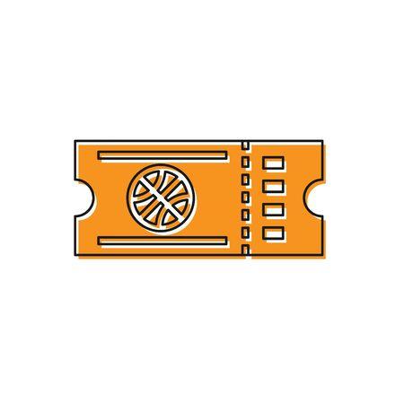 Orange Basketball game ticket icon isolated on white background. Vector Illustration Foto de archivo - 134763174