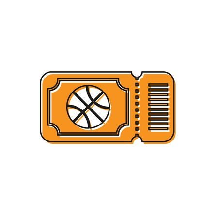 Orange Basketball game ticket icon isolated on white background. Vector Illustration Foto de archivo - 134763179