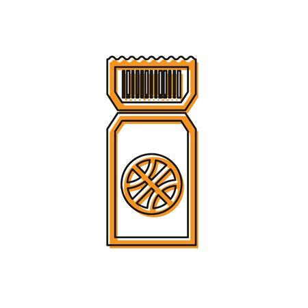 Orange Basketball game ticket icon isolated on white background. Vector Illustration Foto de archivo - 134763180