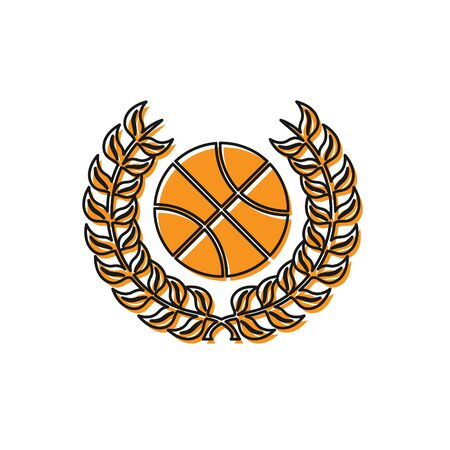 Orange Award with basketball ball icon isolated on white background. Laurel wreath. Winner trophy. Championship or competition trophy. Vector Illustration