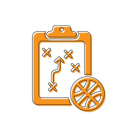 Orange Planning strategy concept icon isolated on white background. Basketball cup formation and tactic. Vector Illustration Standard-Bild - 134763190