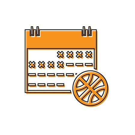 Orange Basketball on sport calendar icon isolated on white background. Vector Illustration Stok Fotoğraf - 134763192