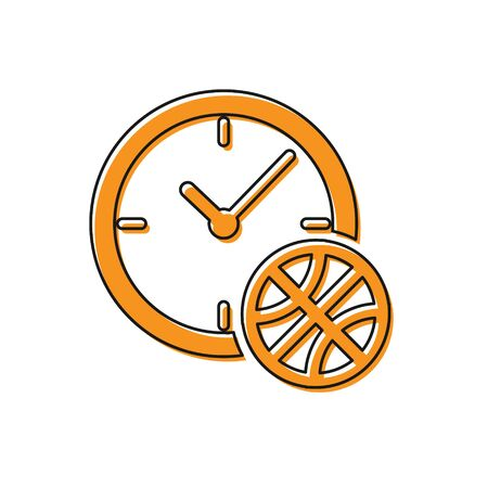 Orange Clock with basketball ball inside icon isolated on white background. Basketball time. Sport and training. Vector Illustration