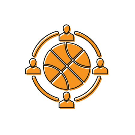 Orange Clock with basketball ball inside icon isolated on white background. Basketball time. Sport and training. Vector Illustration Stok Fotoğraf - 134763200