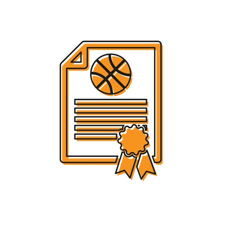 Orange Certificate template basketball award icon isolated on white background. Achievement, award, degree, grant, diploma concepts. Vector Illustration