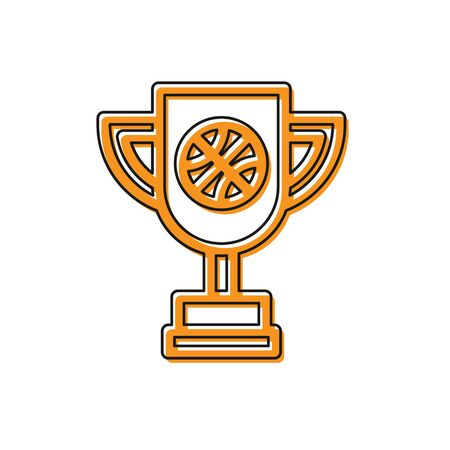 Orange Award cup with basketball ball icon isolated on white background. Winner trophy symbol. Championship or competition trophy. Vector Illustration