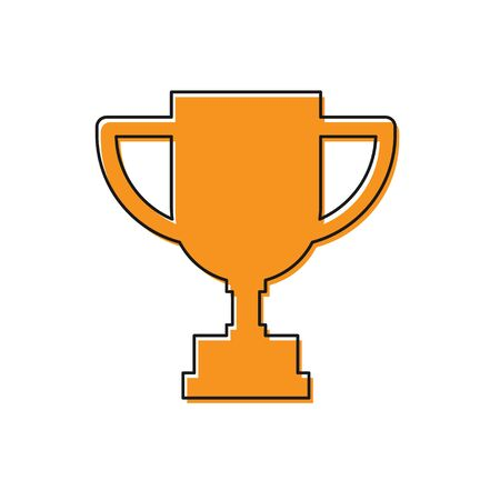 Orange Award cup icon isolated on white background. Winner trophy symbol. Championship or competition trophy. Sports achievement. Vector Illustration