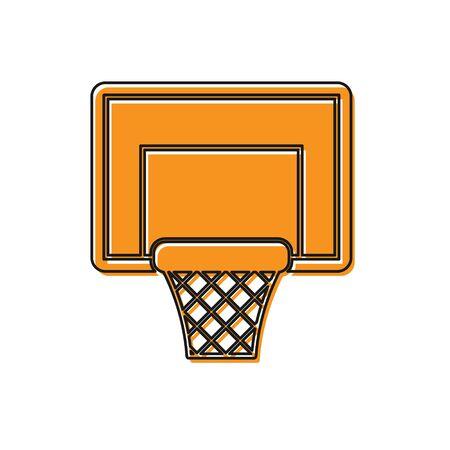 Orange Basketball backboard icon isolated on white background. Vector Illustration
