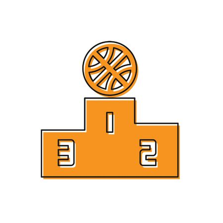 Orange Basketball over sports winner podium icon isolated on white background. Vector Illustration