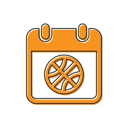 Orange Basketball on sport calendar icon isolated on white background. Vector Illustration