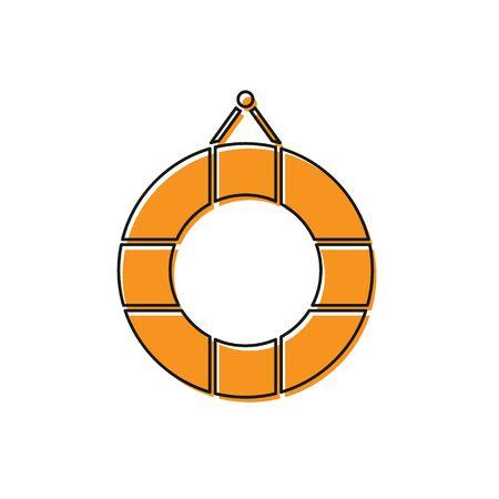 Orange Lifebuoy icon isolated on white background. Lifebelt symbol. Vector Illustration