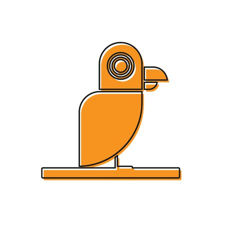 Orange Pirate parrot icon isolated on white background. Vector Illustration