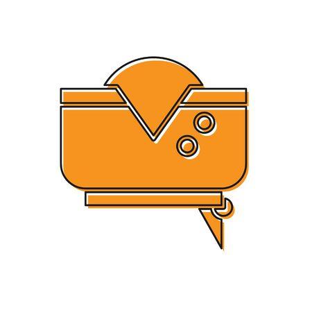 Orange Pirate hat icon isolated on white background. Vector Illustration