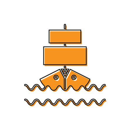 Orange Ship icon isolated on white background. Vector Illustration Stock Illustratie