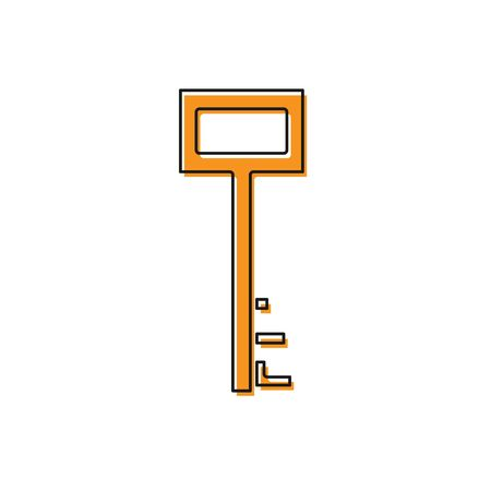 Orange Pirate key icon isolated on white background. Vector Illustration