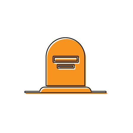 Orange Tombstone with RIP written on it icon isolated on white background. Grave icon. Vector Illustration 일러스트