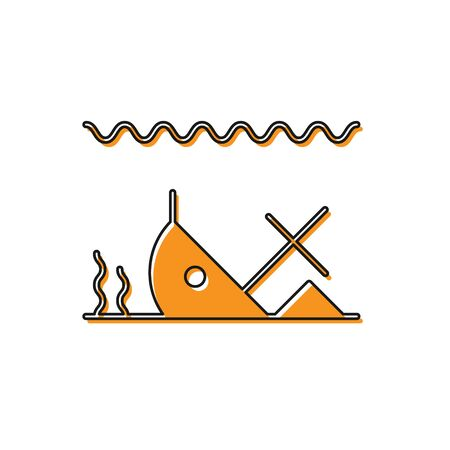 Orange Sunken ship at the bottom of the sea icon isolated on white background. Vector Illustration 向量圖像