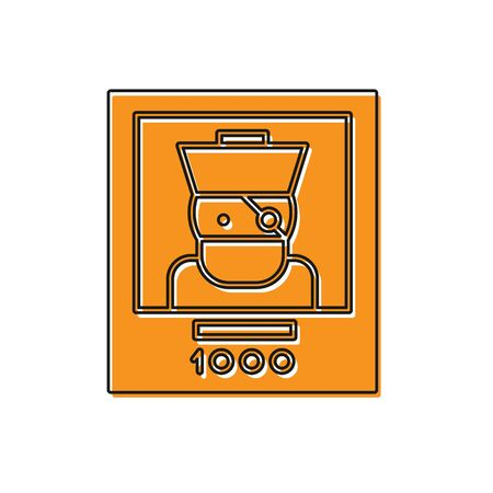 Orange Wanted poster pirate icon isolated on white background. Reward money. Dead or alive crime outlaw. Vector Illustration 向量圖像