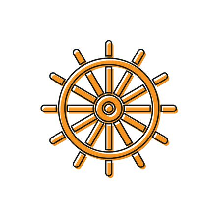 Orange Ship steering wheel icon isolated on white background. Vector Illustration