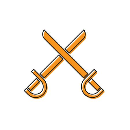 Orange Crossed pirate swords icon isolated on white background. Sabre sign. Vector Illustration