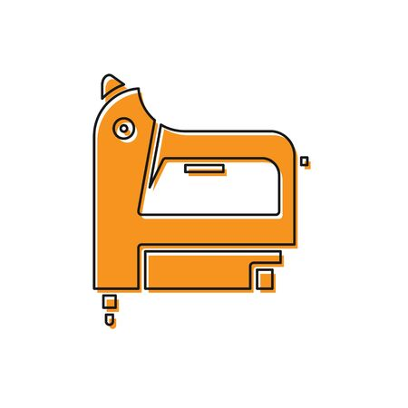 Orange Electric construction stapler icon isolated on white background. Working tool. Vector Illustration