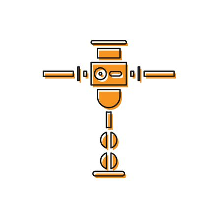 Orange Construction jackhammer icon isolated on white background. Vector Illustration