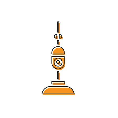 Orange Vacuum cleaner icon isolated on white background. Vector Illustration Ilustração