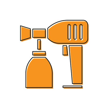 Orange Paint spray gun icon isolated on white background. Vector Illustration