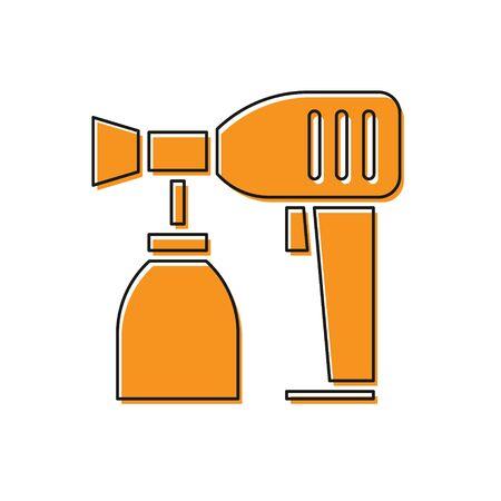 Orange Paint spray gun icon isolated on white background. Vector Illustration Stockfoto - 134763284