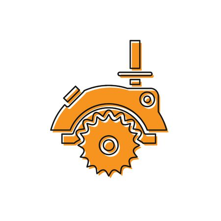Orange Electric circular saw with steel toothed disc icon isolated on white background. Electric hand tool for cutting wood or metal. Vector Illustration