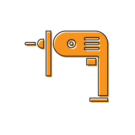 Orange Electric drill machine icon isolated on white background. Repair tool. Vector Illustration