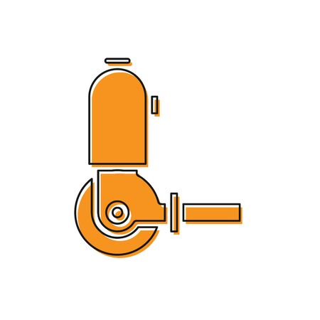 Orange Angle grinder icon isolated on white background. Vector Illustration